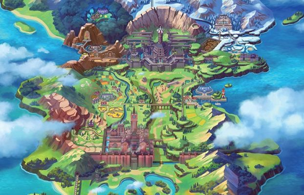 Pokemon sword and shield region galar carte