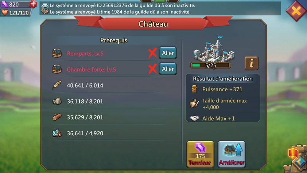 amélioration château lords mobile