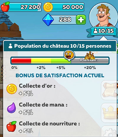 Bonus de satisfaction des habitants dans hustle castle