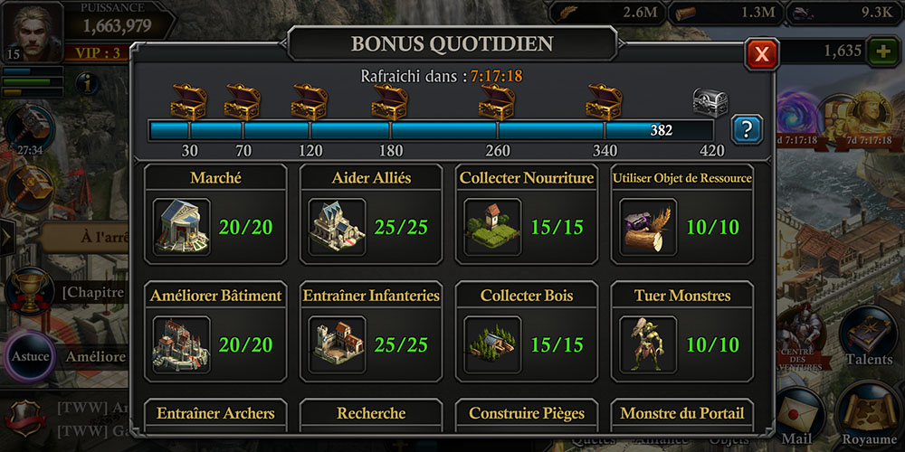 bonus quotidien gratuits king of avalon