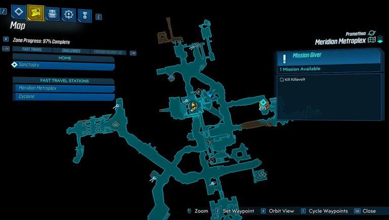 Carte pour trouver l'arme de l'easter egg Rick et Morty sur Borderlands 3