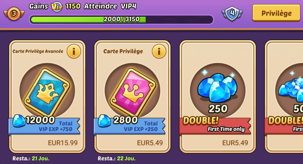 boutique membre vip idle heroes
