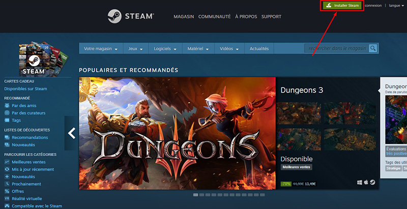 comment installer steam sur pc jeux