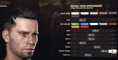cyberpunk 2077 personnalisation visage rpg