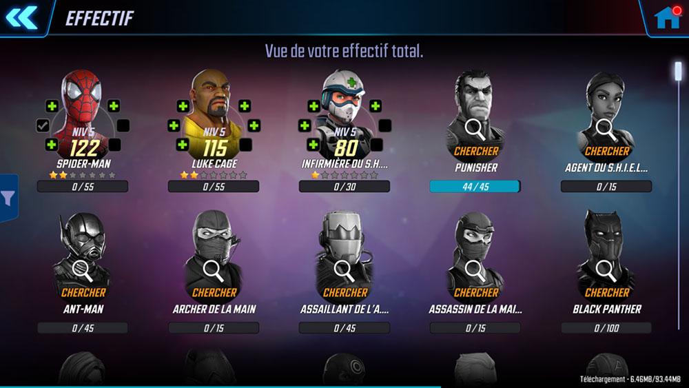 débloquer personnages marvel strike force