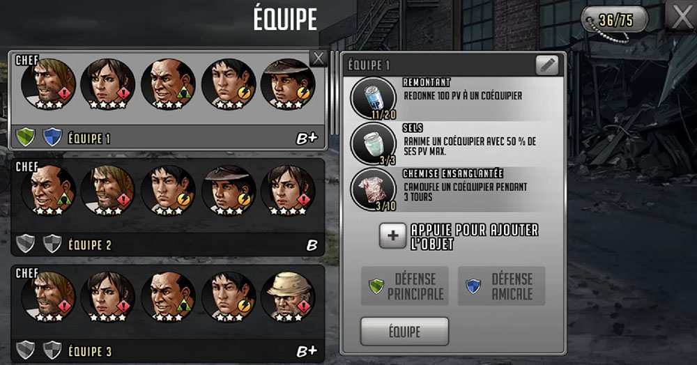 équipe personnages twd road to survival