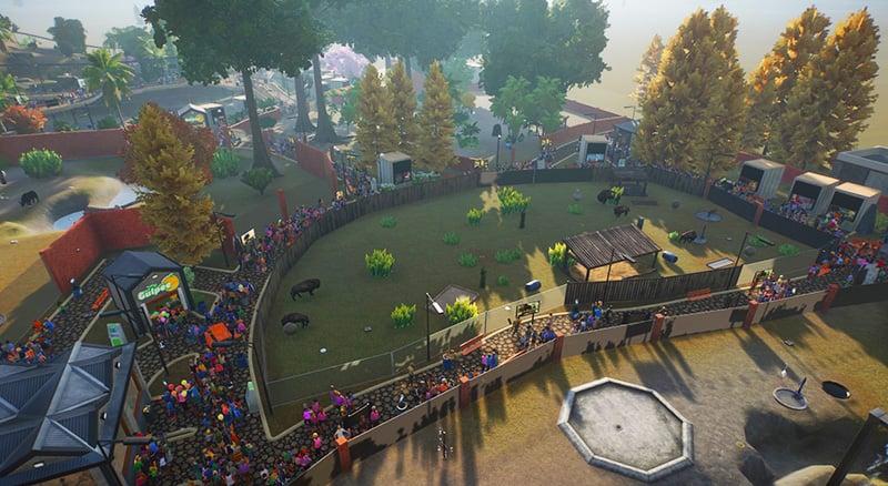 foule visiteurs planet zoo autour habitat