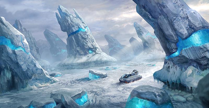 hoverzone arctic spires concept art subnautica below zero