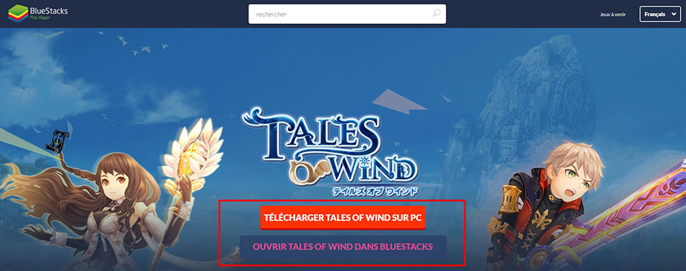 installer bluestacks pour tales of wind