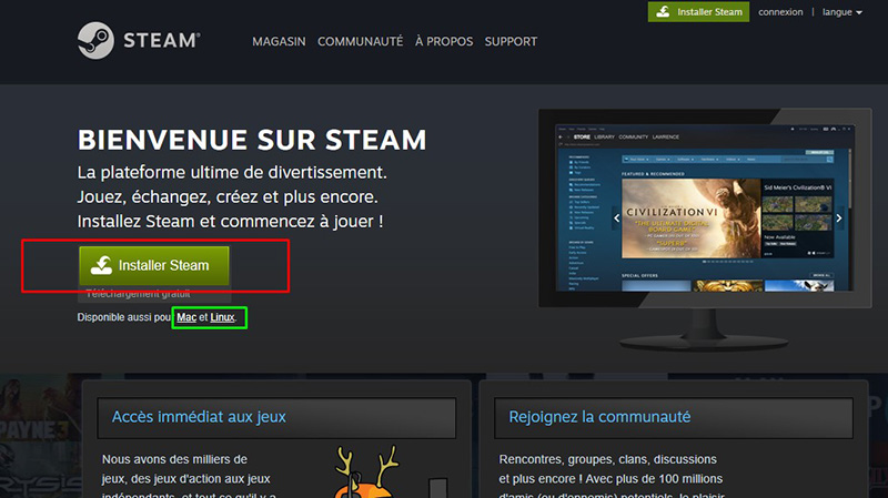 installer steam sur mac linux pc guide cle cd