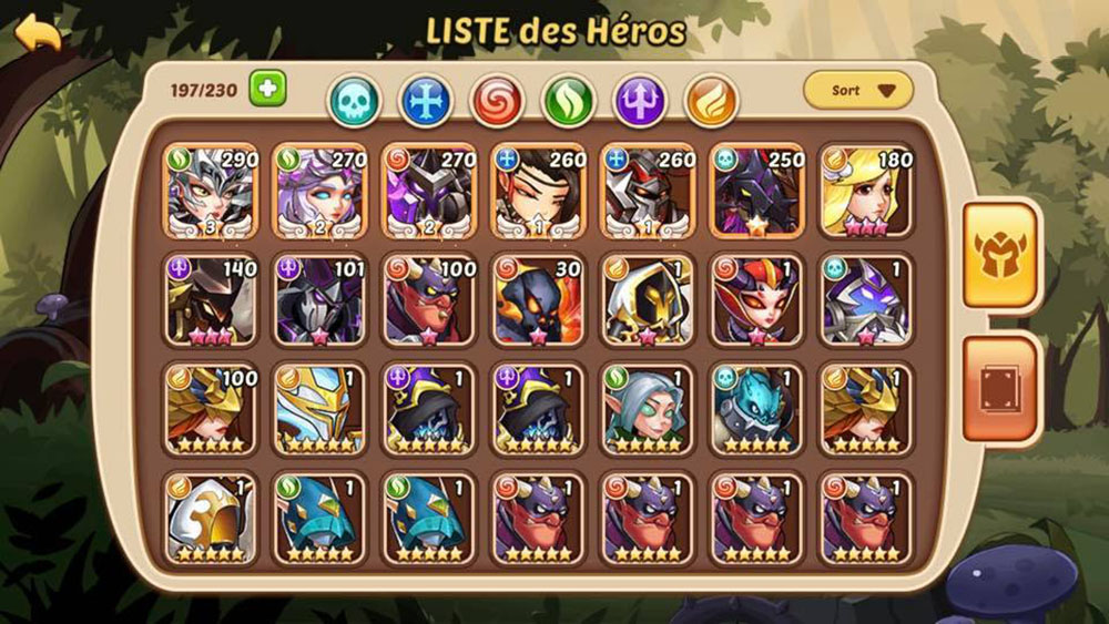 liste héros e3 idle heroes