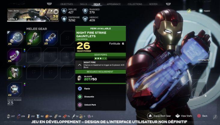 marvel avengers jeu iron man equipement stuff