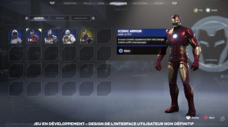 marvel avengers jeu iron man equipement