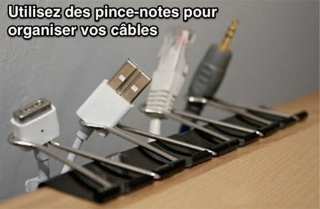 pince notes pour rangement cables solution bureau gaming
