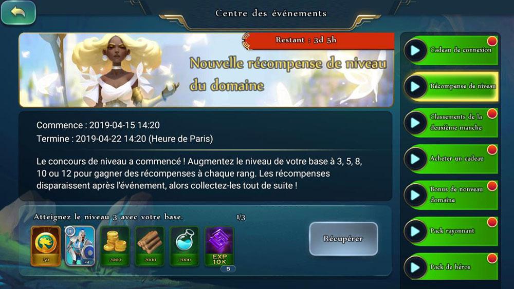 récompense niveau château aoc