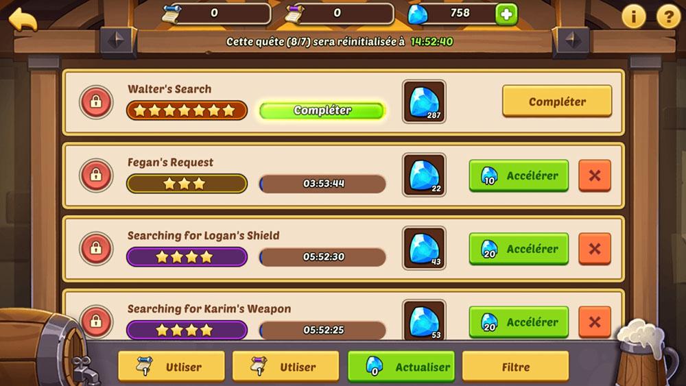 technique pour avoir quête 7 étoiles idle heroes